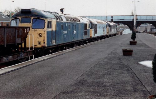 Final journey for 26042 and one other, heading south through Perth behind 37156, October 1994. Graeme Brown