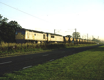 26006+56075 with a southbound MGR service at St Germains LC on 24/07/90. Jim Nisbet